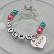 Cousin Personalised Wine Glass Charm - Elegance Style